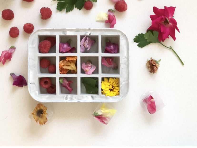 A ice cube tray filled with flowers